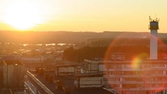 Sunset Sun in City House Building Silhouette Stock Footage