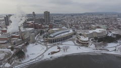 Aerial museum of history gatineau canada winter 4k Stock Footage