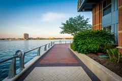 The Boston Harborwalk at Battery Wharf, in the North End, Boston, Massachus.. Stock Photos