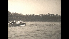 Vintage 16mm film, 1930, US, river cruise with boats, possibly Wash DC or NY Stock Footage