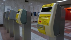 4K Metro station subway ticket stamp machine entrance Athens Greece Europe Stock Footage