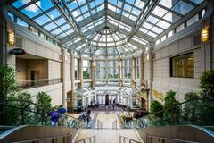 The interior of the Prudential Center, in Back Bay, Boston, Massachusetts. Stock Photos