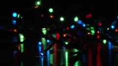 Christmas tree garland with multi-colored flashing lights Stock Footage