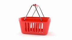 Shopping basket slowly rotate on white background Stock Footage