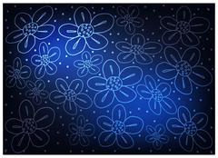 Blue Vintage Wallpaper with Flower Pattern Background Stock Illustration