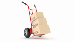 Hand truck with stack of boxes Stock Footage
