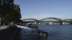 Rhine shores in Cologne with Piers Stock Footage