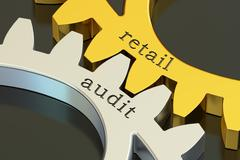 Retail Audit concept on the gearwheels, 3D rendering Stock Illustration
