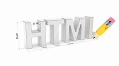 HTML text with pencil isolated on white background Stock Footage