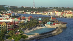 Caribbean overlooking cityscape - Willemstad, Curacao Stock Footage