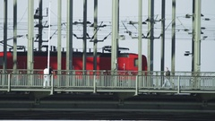 Train on Railway Bridge in Cologne Stock Footage