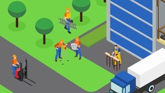 Builders work at construction site video animation footage Stock Footage