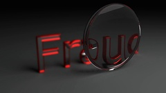 Focused Lens animation on fraud 3D word in red letters Stock Footage