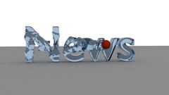3D NEWS word animation with waves generated with a red ball Stock Footage