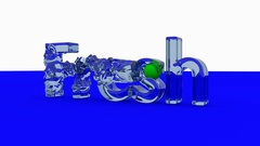 3D FRESH word animation with waves generated with a green ball Stock Footage