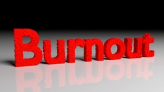 Dissolve animation of 3D word burnout in red Stock Footage