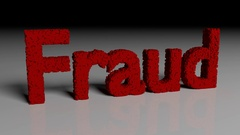 Dissolve animation of 3D word FRAUD in red Stock Footage