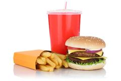 Double cheeseburger hamburger and fries menu meal combo fast food drink iso.. Stock Photos