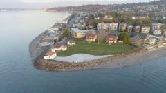 Alki Point Lighthouse, West Seattle, Washington USA Stock Footage