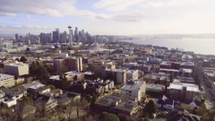Seattle Cityscape Aerial Panorama Dolly Shot Arkistovideo