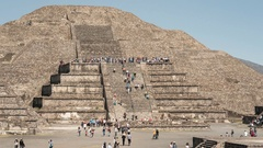 Teotihuacan moon pyramid and tourists, time lapse Stock Footage