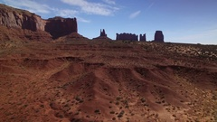 Monument Valley Aerial Shot of Rock Formation in Utah Desert - Forward USA Stock Footage