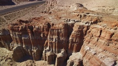 Red Cliff Aerial Shot of Rock Formations in Mojave Desert California - Pull Back Stock Footage