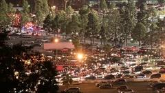Parking Lot Traffic Jam Time Lapse at Night California USA Stock Footage