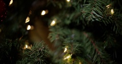 Money for christmas - pan and rack focus to bills under tree Stock Footage