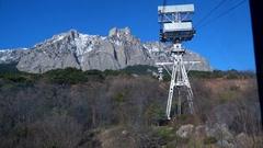 Climbing Mount Ai-Petri cable car Stock Footage