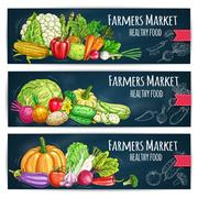 Farmers Market banners with sketched vegetables Piirros