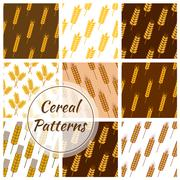 Wheat cereal grain, rye ears seamless patterns set Stock Illustration