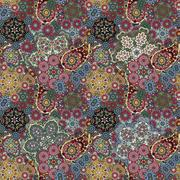 Seamless pattern based on traditional Asian elements Paisley. Colorful pastel Stock Illustration