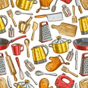 Kitchenware, dishware, kitchen utensils pattern Stock Illustration