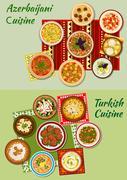 Turkish and azerbaijani cuisine dinner dishes icon Stock Illustration