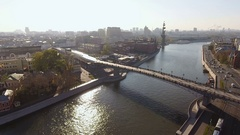 Aerial view of Moscow. The pedestrian Patriarchal bridge over Moscow-river. 4K Stock Footage