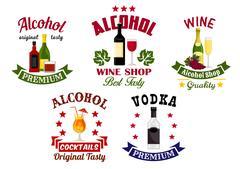 Alcohol drinks, cocktail bar emblems set Stock Illustration