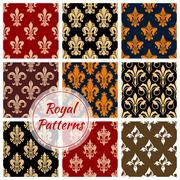 Royal fleur-de-lis floral heraldic flowery pattern Stock Illustration