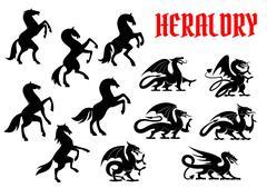 Heraldic mythical animals silhouette emblems Stock Illustration