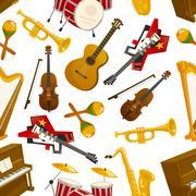 Musical instruments seamless pattern vector Stock Illustration