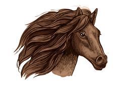 Horse race sport sign. Wild equine mustang running Stock Illustration