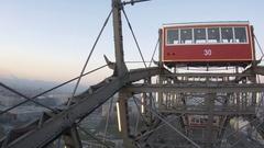 View through the cabin window Giant Ferris Wheel, Vienna Prater 31 Stock Footage