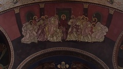 Religious painting on the walls of a large church 43p1 Stock Footage
