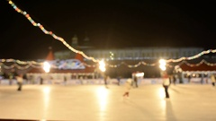 De-focus defocus blurred Ice rink and GUM in Moscow Stock Footage