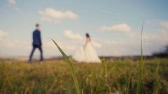 Wedding Couple Mountain Walk Stock Footage
