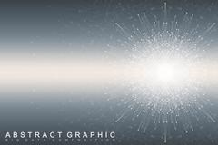 Fractal element with connected lines and dots. Big data complex. Virtual Stock Illustration