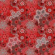 Traditional oriental paisley pattern. Seamless vintage red gray flowers Stock Illustration