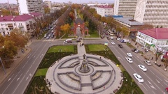 Aerial view of the russian southern city - Krasnodar. Triumphal arch. 4K Stock Footage