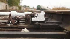 Old railroad rails bottom view of the movement Stock Footage