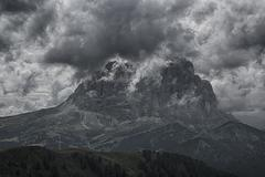 Langkofel in the clouds Stock Photos